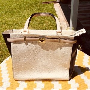 Kate Spade Ostrich embossed Leather Tote Bag